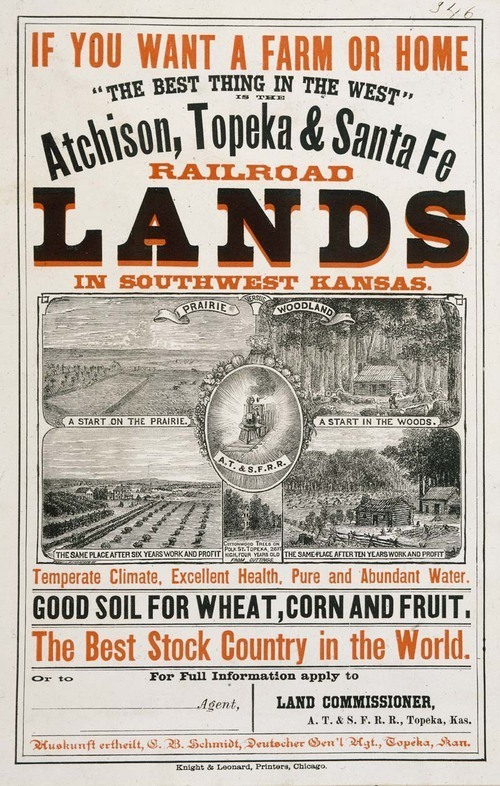 Atchison, Topeka & Santa Fe Railroad poster for lands in southwest Kansas - Page
