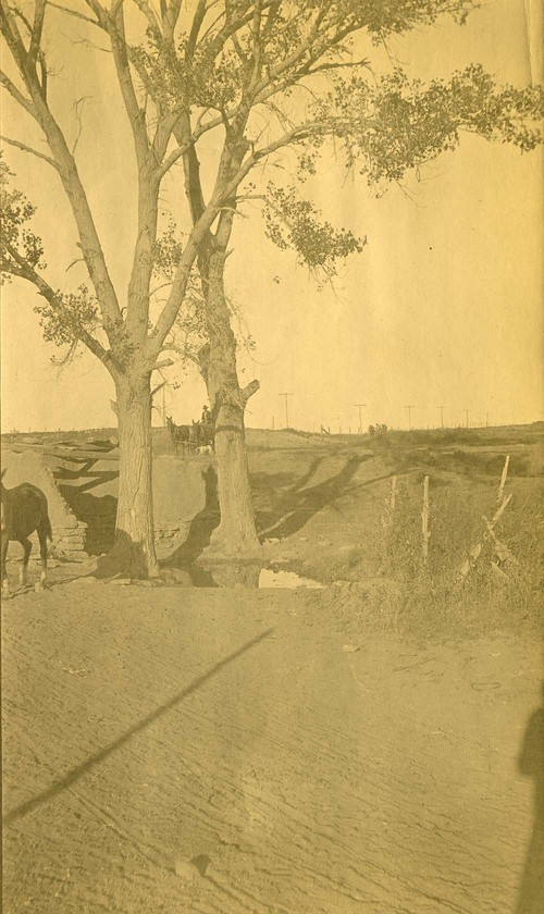 Horse-drawn wagons and drivers, possibly, Abo Canyon, New Mexico - Page