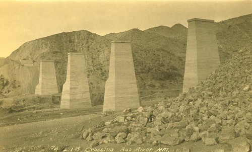 Atchison, Topeka & Santa Fe Railway Company's bridge pillars, Abo Canyon, New Mexico - Page