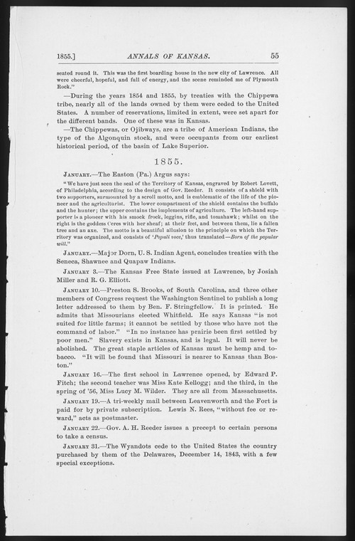 Annals of Kansas, January - February, 1855 - Page