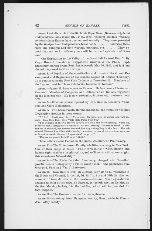 Annals of Kansas, April - May, 1855 - Page