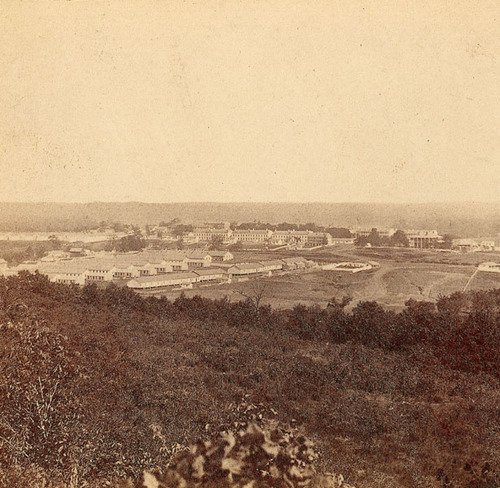 Photograph of the buildings and grounds of Fort Leavenworth, Kansas was taken in 1867