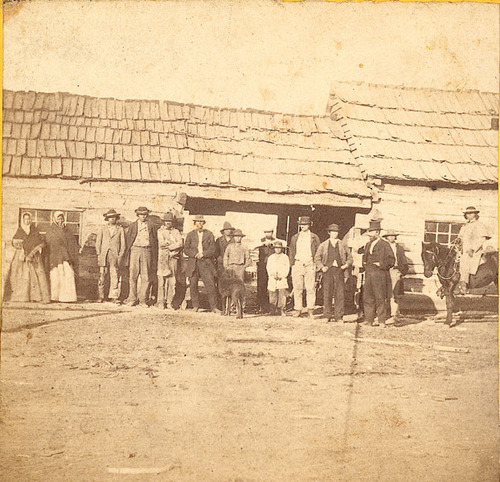 Photograph of Potawatomie Indians at the St. Mary's Mission, Pottawatomie County, 1867.