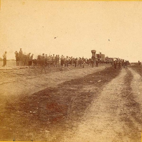 Railroad construction near Hays, 1867