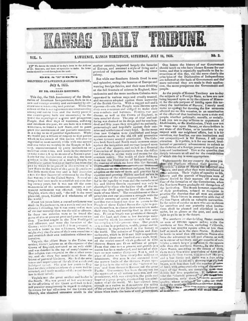 Image of front page of the Kansas Daily Tribune, Lawrence Kansas Territory , July 11, 1855