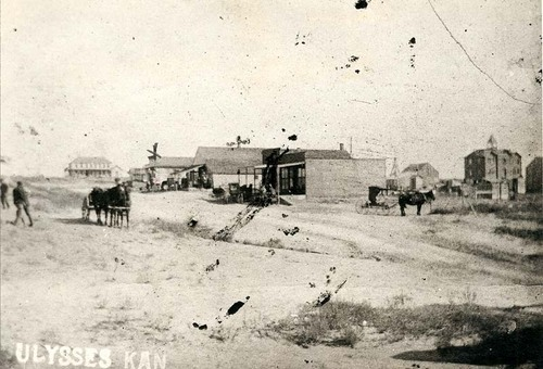 Street scene in Ulysses, Kansas, 1906, before it was moved to a new site on February 6, 1909.