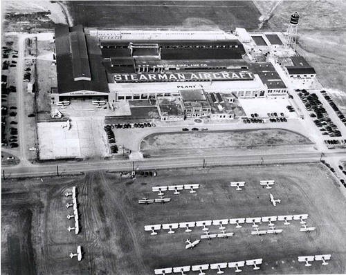 Aerial view of Stearman (Boeing) plant, Wichita, 1945