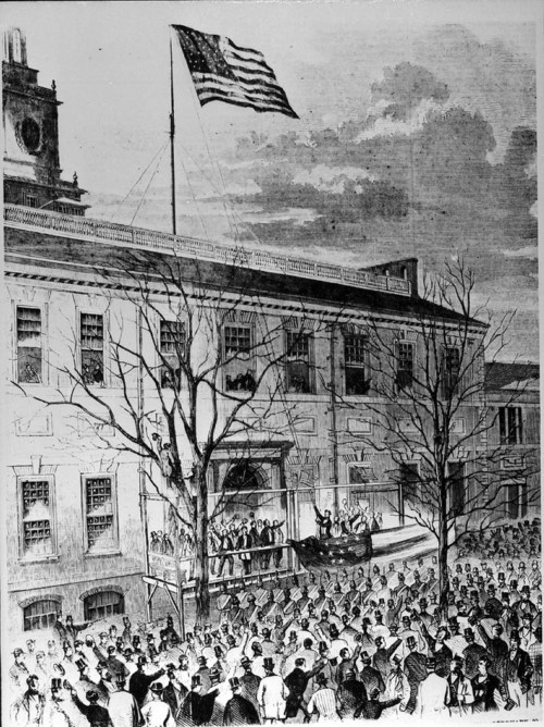 Abraham Lincoln raising the thirty-four star flag - Page