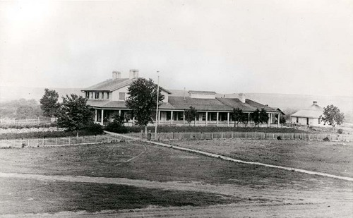 View from the west showing the first permanent Fort Riley hospital, between 1865 and 1869
