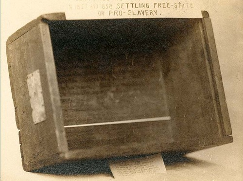 Photo of candle box containing election returns for 1857 and 1858 settling the Free-State or Pro-Slavery issue