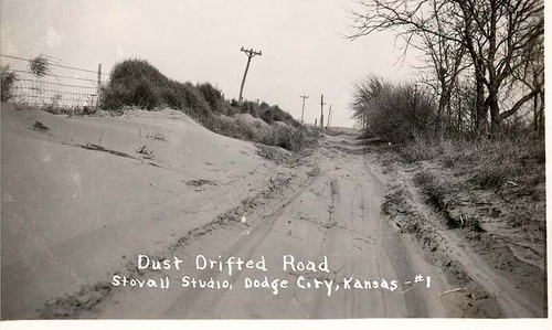 Dust drifted road, Ford County, Kansas - Page