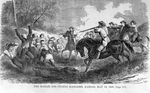 "An illustration of the Marais des Cygnes Massacre in Linn County, Kansas Territory, copied from ""Beyond the Mississippi"" by Albert D. Richardson, 1867"