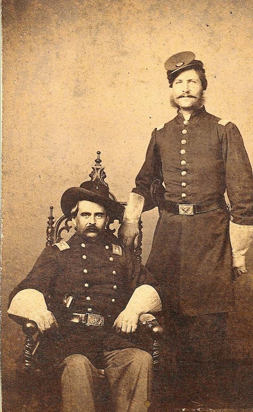 A studio portrait of two members of the First Kansas Volunteer Infantry