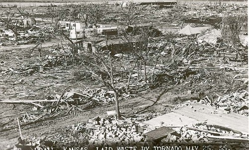 Photograph showing tornado destruction in Udall, Kansas, May 25, 1955.