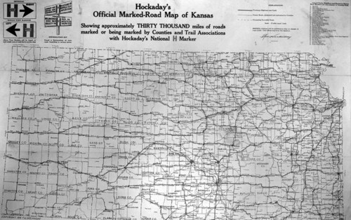 """Hockaday's Official Marked Road Map of Kansas""; 1918"