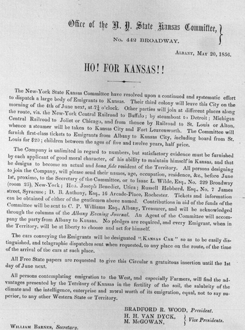 Circular for New York State Kansas Committee, 1856 - Page