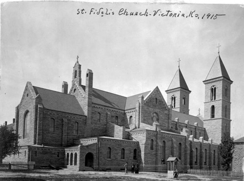 "A side view of St. Fidelis Church, the ""Cathedral of the Plains,"" in Victoria, Kansas. The church was built to serve the predominantly Catholic Volga-German community in the area."
