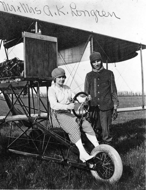 Albin Kasper Longren and Dolly Longren with plane #5 - Page