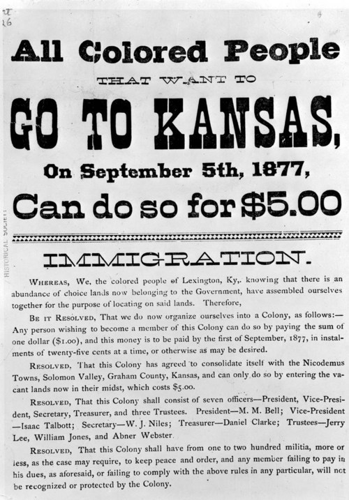 "Image of an advertising broadside stating, ""All Colored people that want to go to Kansas on Sept. 5, 1877, can do so f or $5.00"""