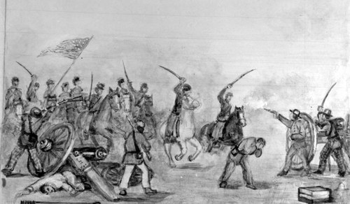 "An illustration titled ""It Went Against Us"" copied from page 99 of S. J. Reeder's autobiography ""Battle of Blue, Battle of Mine Creek, KS, Oct. 25, 1864."""