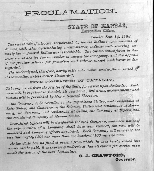 Proclamation Activating the 19th Kansas Volunteer Regiment - Page