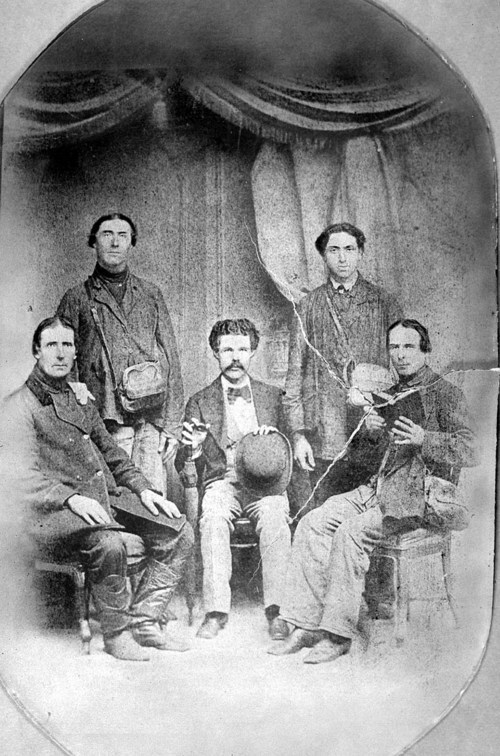 A photograph of Peter Stecklein, Jacob Ritter, Nicholas Schamme, Peter Leiker, and Anton Wasinger, who came to the United States in 1874, to investigate lands in Ellis and Rush Counties for German-Russian settlements.