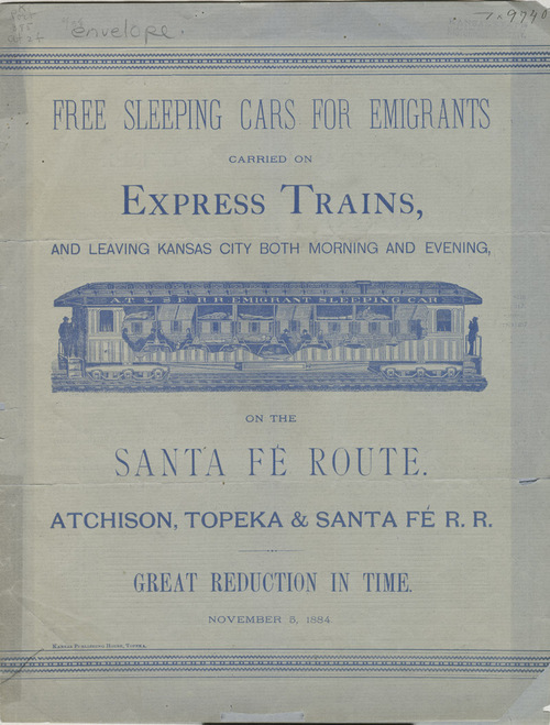 Link to and image of an Atchison, Topeka & Santa Fe Railroad Company advertisement of free sleeping cars for emigrants, 1884
