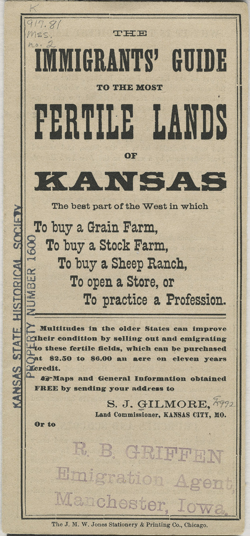 Link to and image of Union Pacific Railway Company promotional advertisement, The Immigrants' Guide to the Most Fertile Lands of Kansas, ca. 1880