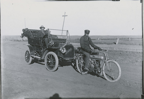Yale motorcycle and Buick automobile, Dorrance, Kansas - Page