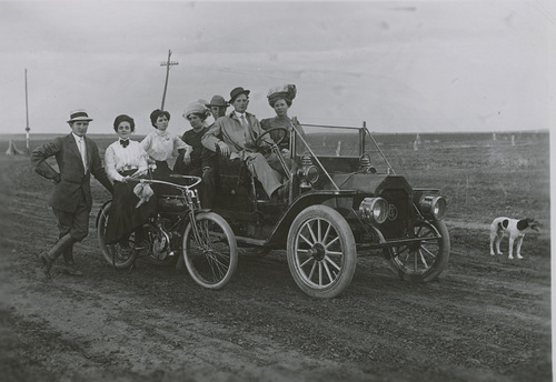 Adam and Fred Thielen and friends in an automobile, Dorrance, Kansas - Page