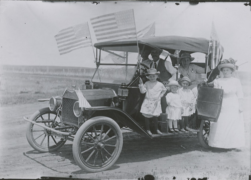 E. S. Hopper driving a Ford automobile, Dorrance, Kansas - Page