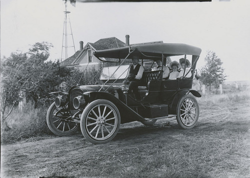 Fred Major and family in automobile, Dorrance, Kansas - Page