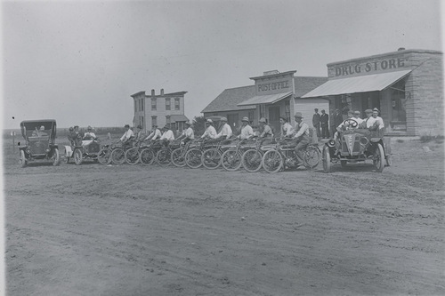 Motorcycles and automobiles, Dorrance, Russell County, Kansas - Page
