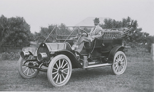 G. P. Thielen seated in his Reo automobile, Dorrance, Kansas - Page