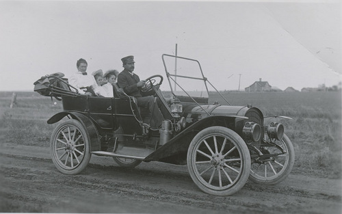 Fred Major and family in automobile, Russell County, Kansas - Page