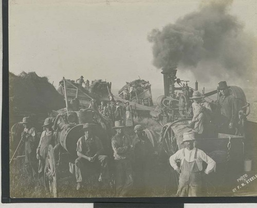 Wheat harvest with header barges and steam-powered thresher - Page
