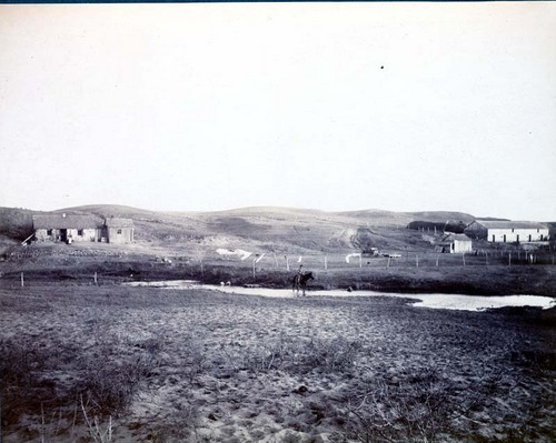 Stone house and barn on the Drake Cattle Company's west ranch - Page