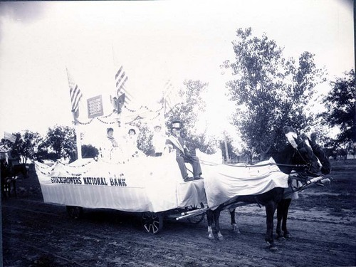 Parade float advertising the Stockgrowers National Bank, Ashland, Kansas - Page