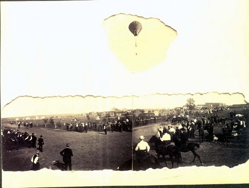 Horse race and balloon ascension at a fair in Ashland, Kansas - Page