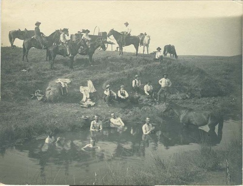 Cowboys bathing in a pond, Seward County, Kansas - Page