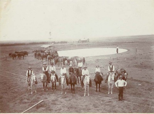 C. E. Doyle and cowboys on the Doyle ranch near Englewood, Kansas - Page