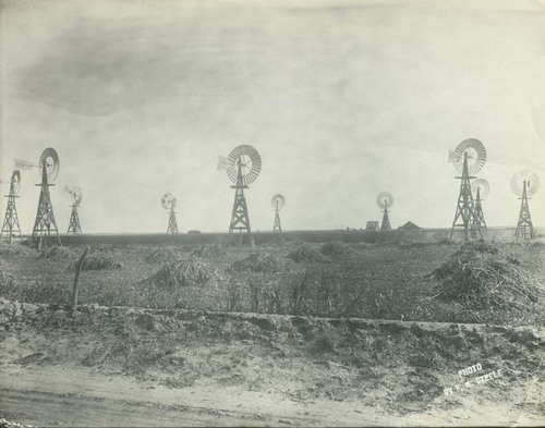 Ten windmills in a field pumping water into a large tank - Page