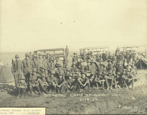 Liberal, Kansas, Boy Scouts breaking camp at Pueblo, Colorado - Page