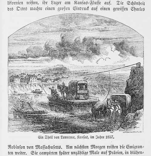 Ferry crossing the Kansas River, Kansas Territory - Page