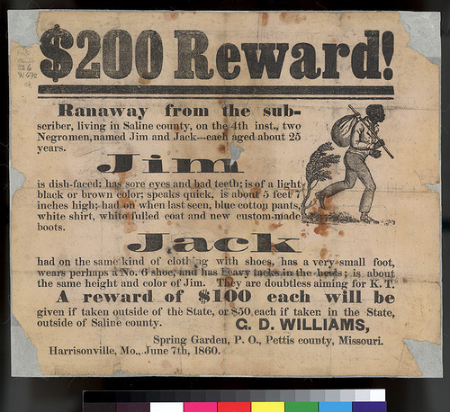 $200 Reward for Runaway Slaves