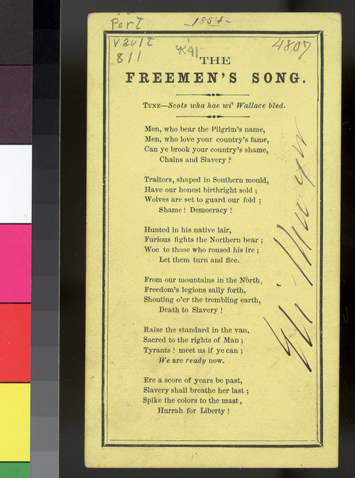 """""""The Freeman's Song"""" and """"The Kansas Emigrant Song"""" lyrics - Page"""