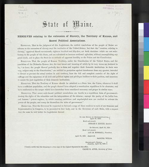 State of Maine resolutions in support of Kansas Territory - Page
