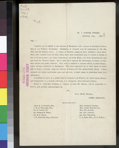 James Redpath form letter - Page