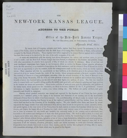 New York Kansas League Address to the Public - Page