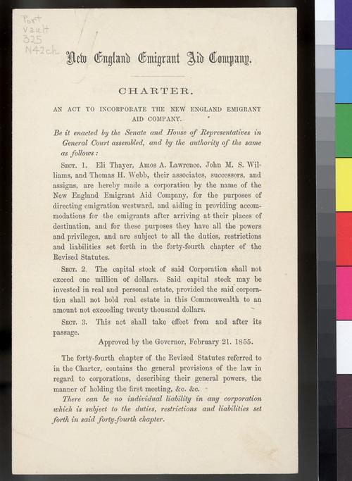 New England Emigrant Aid Company charter - Page